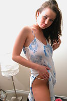 Nonnude Brunette Teen In Nightdress - Picture 9