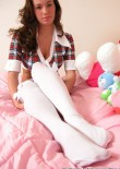 Stephanie In Her Bedroom In Short Skirt And White Stockings - Picture 12