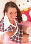 Stephanie In Her Bedroom In Short Skirt And White Stockings - Picture 13