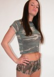 Brunette Busty Teen In Camo - Picture 1